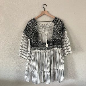 Free People White & Black Embroidery Dress